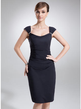Sheath/Column Cowl Neck Knee-Length Mother of the Bride Dresses With Ruffle Beading