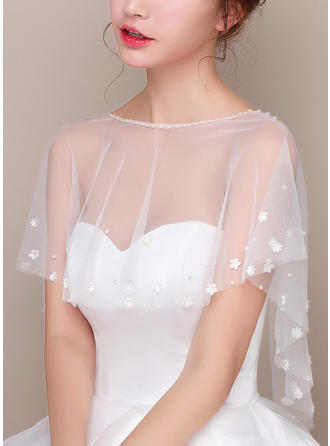 Wrap Wedding Lace Tulle Sleeveless With Flower Wraps (013125017)