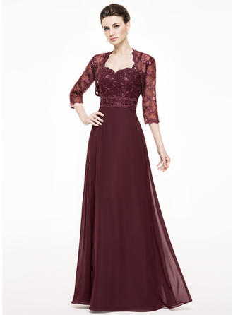 A-Line/Princess Sweetheart Chiffon Lace Sleeveless Floor-Length Beading Sequins Mother of the Bride Dresses