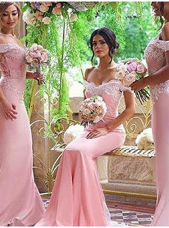 Trumpet/Mermaid Stretch Crepe Bridesmaid Dresses Lace Off-the-Shoulder Short Sleeves Sweep Train