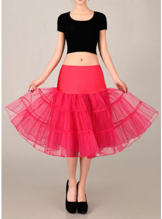 Bustle Tea-length Tulle Netting/Satin A-Line Slip 2 Tiers Petticoats