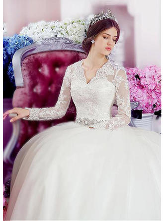 A-Line/Princess V-neck Chapel Train Wedding Dress With Lace Beading Appliques Lace Sequins