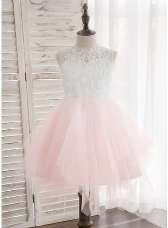 A-Line/Princess Knee-length Flower Girl Dress - Tulle/Lace Sleeveless Scoop Neck With Beading/Bow(s)