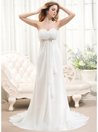 A-Line/Princess Sweetheart Sweep Train Chiffon Wedding Dress With Beading Cascading Ruffles