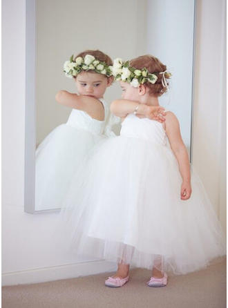 Ball Gown Sweetheart Ankle-length With Sash Tulle Flower Girl Dresses (010212176)
