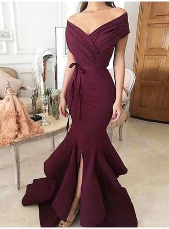 Chic Satin Prom Dresses Trumpet/Mermaid Sweep Train Off-the-Shoulder Sleeveless