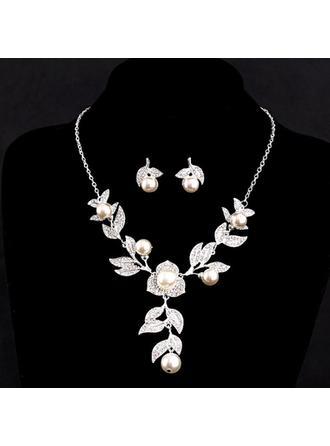 Vackra Och Legering/Imitationer av Naturpärlor med Österrikiska Kristall Kvinnor Smycken Sets