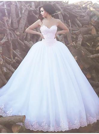 Sweetheart Ball-Gown Wedding Dresses Organza Lace Sleeveless Sweep Train