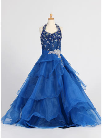 A-Line/Princess Halter Floor-length With Ruffles/Sequins/Rhinestone Organza Flower Girl Dress
