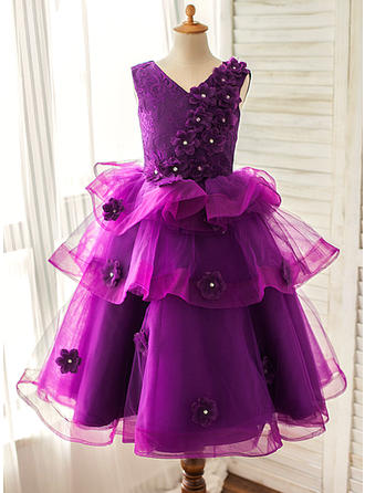 V-neck A-Line/Princess Flower Girl Dresses Organza/Satin Flower(s) Sleeveless Floor-length