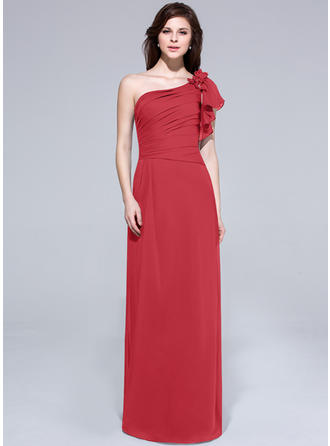 Chiffon Short Sleeves A-Line/Princess Bridesmaid Dresses One-Shoulder Beading Flower(s) Cascading Ruffles Floor-Length