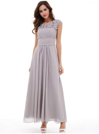 A-Line/Princess Scoop Neck Floor-Length Evening Dress With Beading Pleated