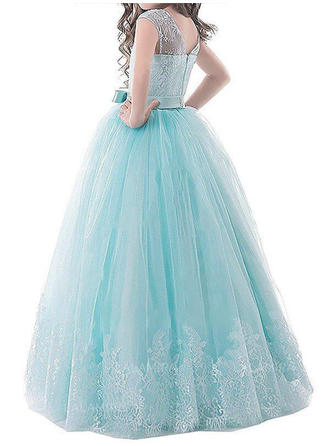 Scoop Neck Ball Gown Flower Girl Dresses Tulle Bow(s) Sleeveless Floor-length