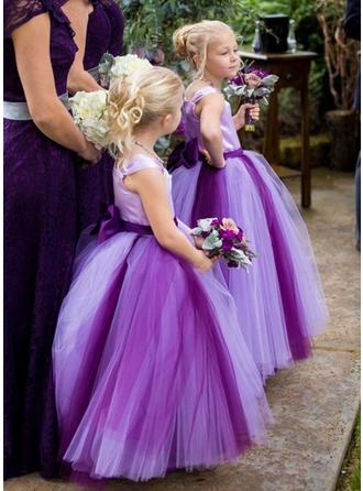 Ball Gown Square Neckline Ankle-length With Sash/Bow(s) Satin/Tulle Flower Girl Dress