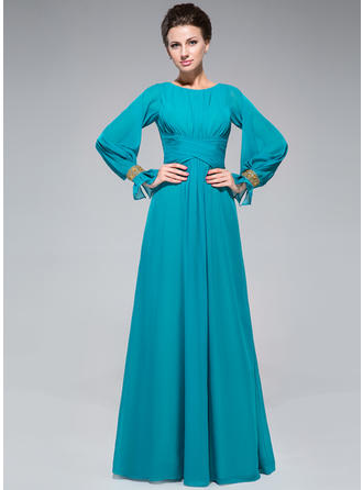 A-Line/Princess Chiffon Long Sleeves Scoop Neck Floor-Length Zipper Up Mother of the Bride Dresses