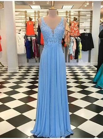 A-Line/Princess V-neck Floor-Length Prom Dresses With Ruffle Appliques