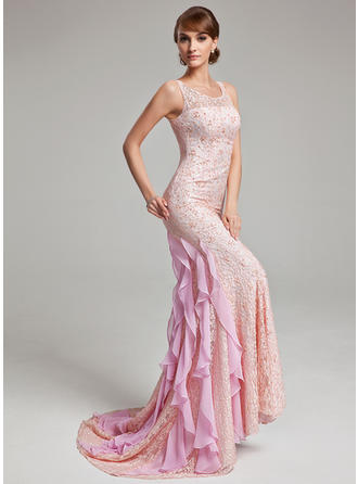 Lace Scoop Neck Trumpet/Mermaid Sleeveless Gorgeous Evening Dresses
