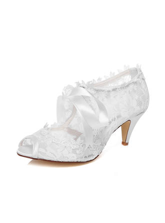 Women's Peep Toe Sandals Cone Heel Lace Wedding Shoes
