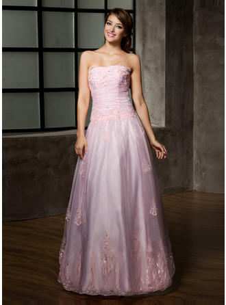 A-Line/Princess Strapless Floor-Length Organza Prom Dress With Ruffle Beading Appliques Lace