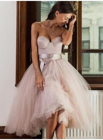 Sash Sweetheart Tulle A-Line/Princess Homecoming Dresses