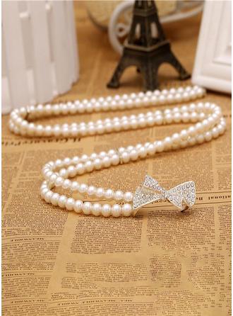 Elegant Faux-Perlen Schleifenbänder/Stoffgürtel