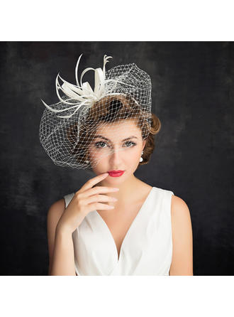 Cambric/Feather/Tulle With Tulle Fascinators Romantic Ladies' Hats