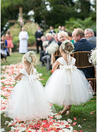 Ball Gown Sweetheart Ankle-length With Bow(s) Satin/Tulle Flower Girl Dress