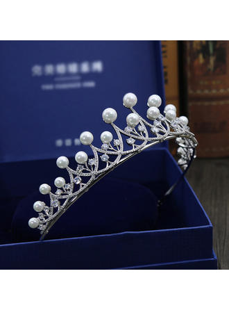 "Tiaras Wedding/Special Occasion/Party Imitation Pearls/Zircon 1.77""(Approx.4.5cm) 5.71""(Approx.14.5cm) Headpieces"
