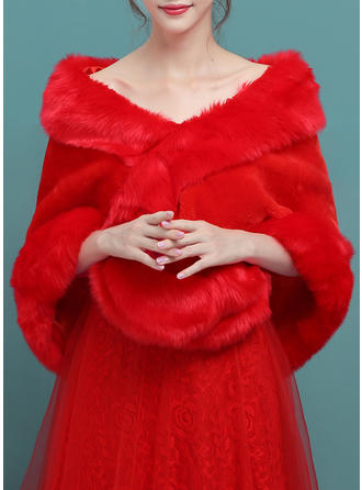 Wrap Wedding Faux Fur Red Wraps