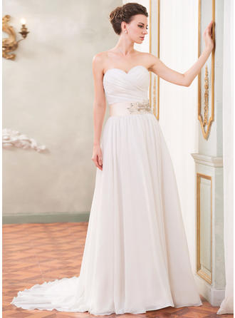 Strapless Sleeveless Sweetheart With Chiffon Wedding Dresses