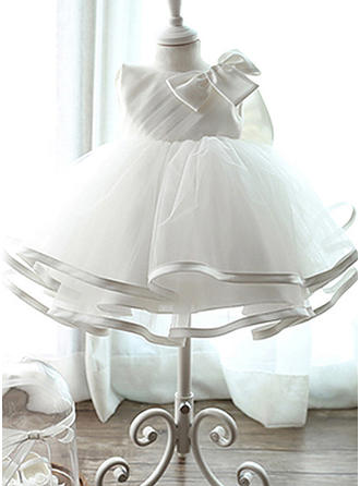 Satin Tulle Scoop Neck Bow(s) Baby Girl's Christening Gowns With Sleeveless