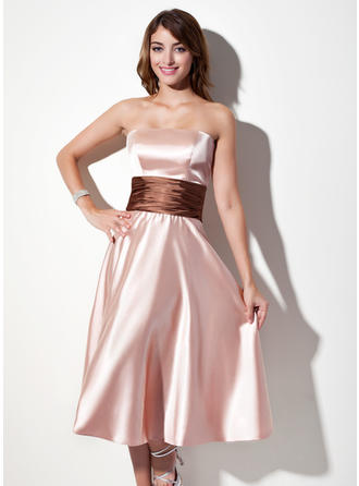 Charmeuse Sleeveless A-Line/Princess Bridesmaid Dresses Strapless Sash Tea-Length