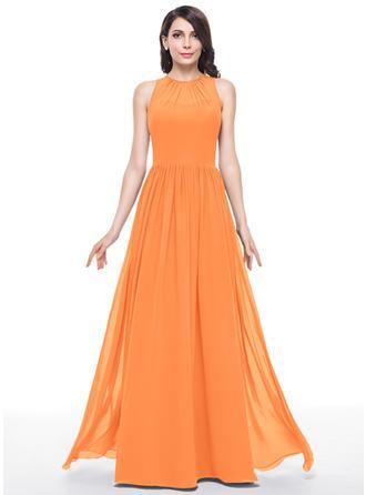Scoop Neck A-Line/Princess Chiffon Sleeveless Bridesmaid Dresses