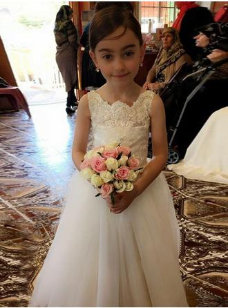 A-Line/Princess Square Neckline Floor-length With Bow(s) Tulle/Lace Flower Girl Dress