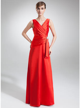 A-Line/Princess V-neck Floor-Length Evening Dresses With Ruffle Crystal Brooch