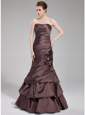 Trumpet/Mermaid Sweetheart Floor-Length Evening Dresses With Ruffle Flower(s)