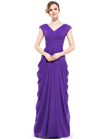 Chiffon Short Sleeves Sheath/Column Bridesmaid Dresses V-neck Ruffle Floor-Length