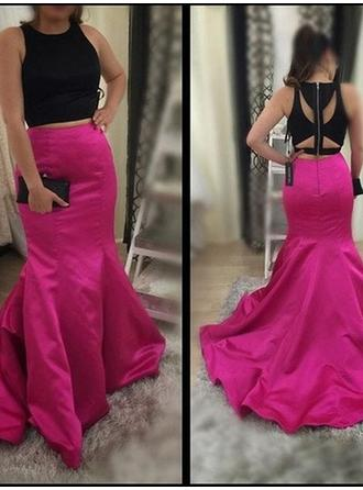 Trumpet/Mermaid Scoop Neck Satin Sleeveless Beautiful Prom Dresses
