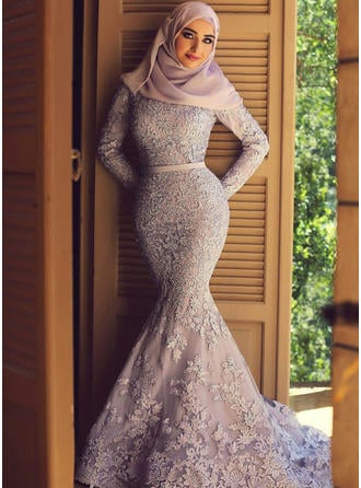 Trumpet/Mermaid Lace Prom Dresses Fashion Sweep Train Scoop Neck Long Sleeves