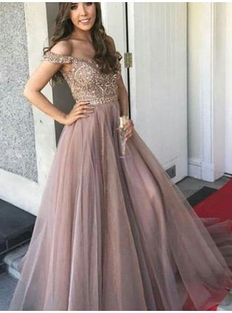 Tulle Sleeveless A-Line/Princess Prom Dresses Off-the-Shoulder Beading Floor-Length