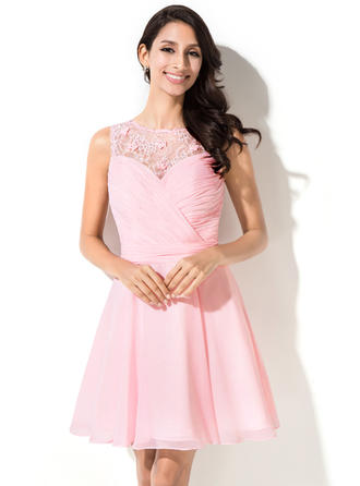 Simple Chiffon Sleeveless Scoop Neck Ruffle Beading Flower(s) Sequins Homecoming Dresses