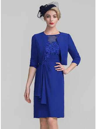 Sheath/Column Scoop Neck Knee-Length Chiffon Lace Mother of the Bride Dress With Beading Sequins Cascading Ruffles