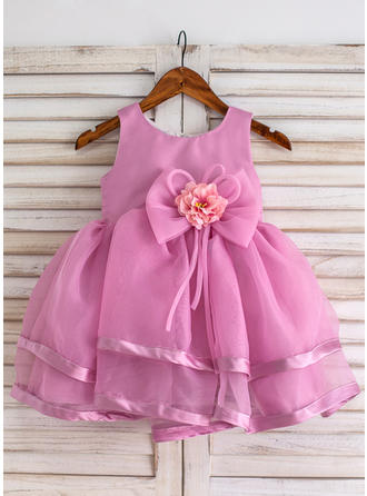 Scoop Neck Ball Gown Flower Girl Dresses Organza Flower(s)/Bow(s) Sleeveless Knee-length