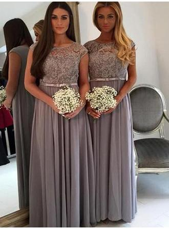 A-Line/Princess Floor-Length Chiffon Lace Sleeveless Bridesmaid Dresses