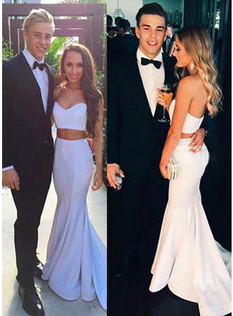 Satin Sleeveless Trumpet/Mermaid Prom Dresses Sweetheart Sweep Train