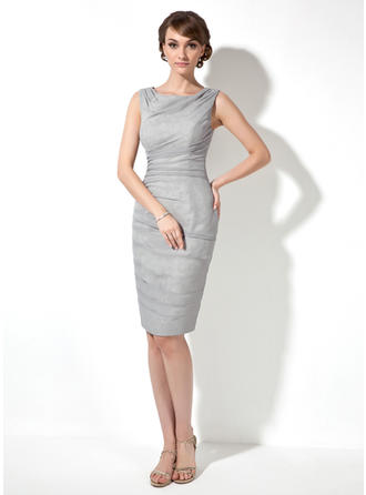 Sheath/Column Cowl Neck Knee-Length Mother of the Bride Dresses With Ruffle