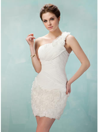 Sheath/Column One-Shoulder Short/Mini Chiffon Lace Homecoming Dresses With Ruffle Flower(s)