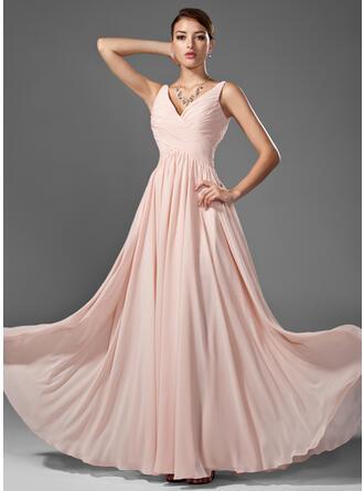 A-Line/Princess V-neck Floor-Length Chiffon Prom Dresses With Ruffle