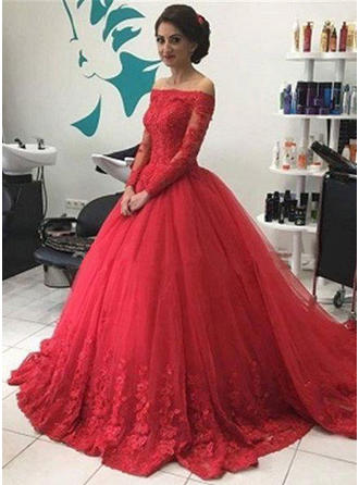 Tulle Long Sleeves Ball-Gown Prom Dresses Off-the-Shoulder Chapel Train