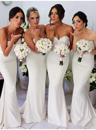Sheath/Column Jersey Bridesmaid Dresses Beading Sequins Sweetheart Sleeveless Sweep Train